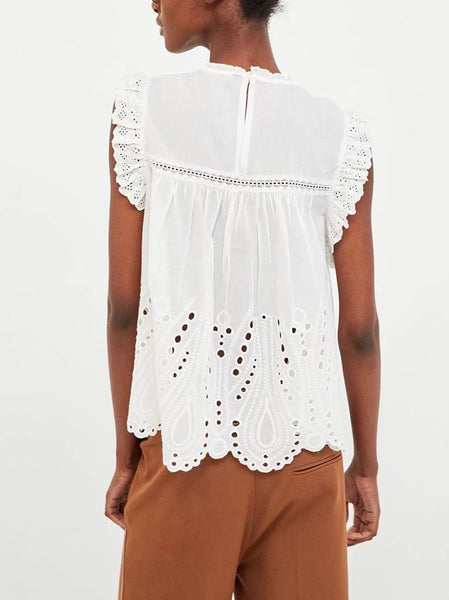 Casual Sleeveless Ruffled Hollow Out Pure Colour Pleated Tops
