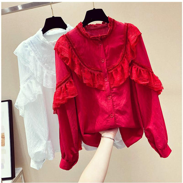 Boho Lacework Long Sleeve Pure Colour Blouse