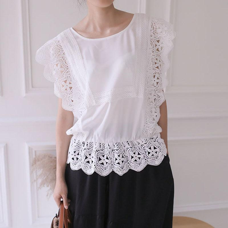 Fashion Inwrought Bare Back Hollow Out Round Neck Splicing Tops