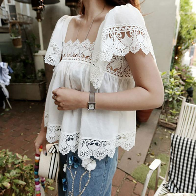 Elegant Square-Cut Collar Sloping Shoulder Lace Splicing Short Sleeve Tops