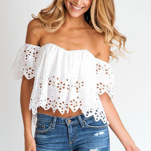 Sexy Hollow Out Bare Back Off-Shoulder Chiffon Pure Colour Tops
