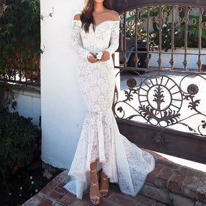 Sexy Long Sleeve Splicing Lacework Fishtail Dress