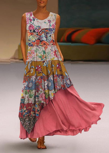 Bohemian Round Neck Sleeveless Pleated Splicing Printed Colour Dress