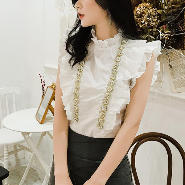 Commuting Ruffled Stand Collar Short Sleeve Chiffon Top