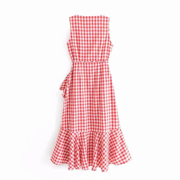 Fashion Sleeveless Plaid Printed Dress