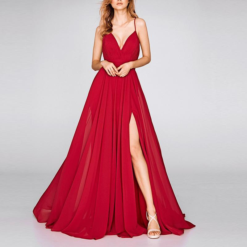 Sling Sexy V-Neck Solid Color Full Long Dress