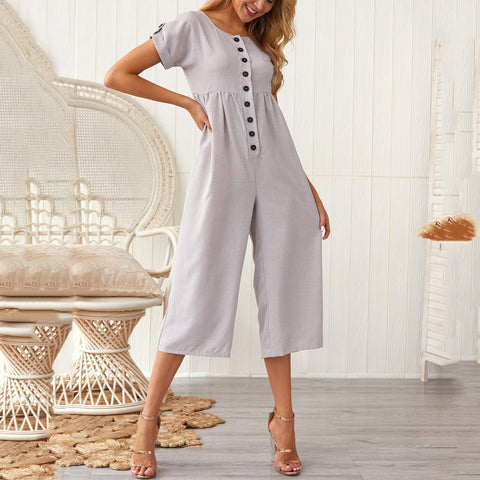 Casual Single-Breasted Short Sleeve Pleated Splicing Jumpsuit