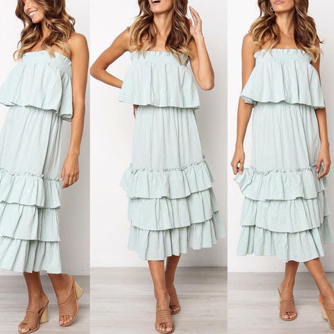 EBUYCHIC Fashion Casual Strapless Cake Midi Dress