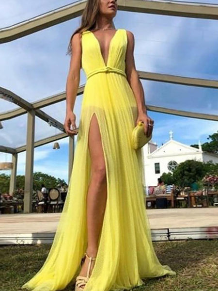 Sexy V Neck Sleeveless Slit Belted Pure Colour Dress