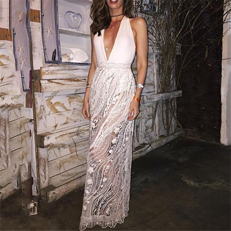 Sexy Deep V Sleeveless Lace Maxi Dresses
