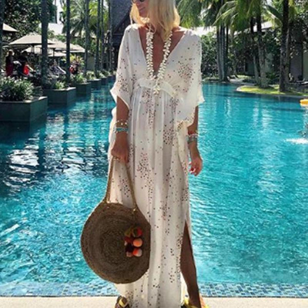 Bohemian V-Neck Irregular Prints Dress