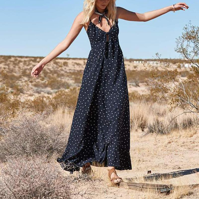 Bohemian Polka Dot Ruffled Irregular Sleeveless Dress