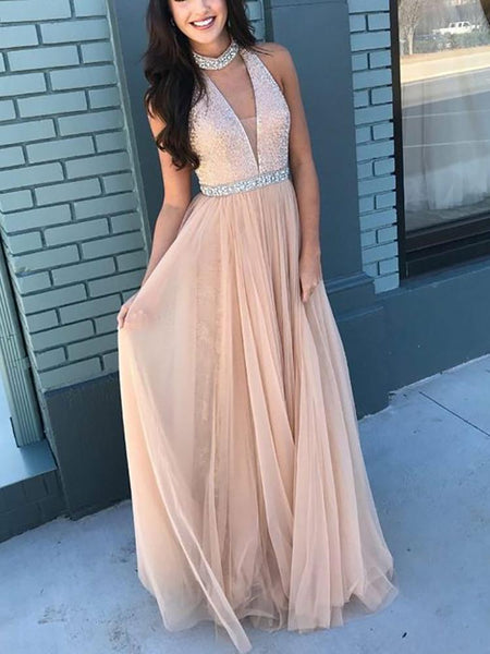 Sexy V Neck Sleeveless Paillette Evening Dress
