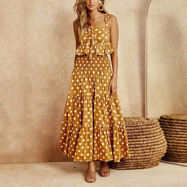 Fashion Square-Cut Collar Polka Dot Polka Dot Belted Suit