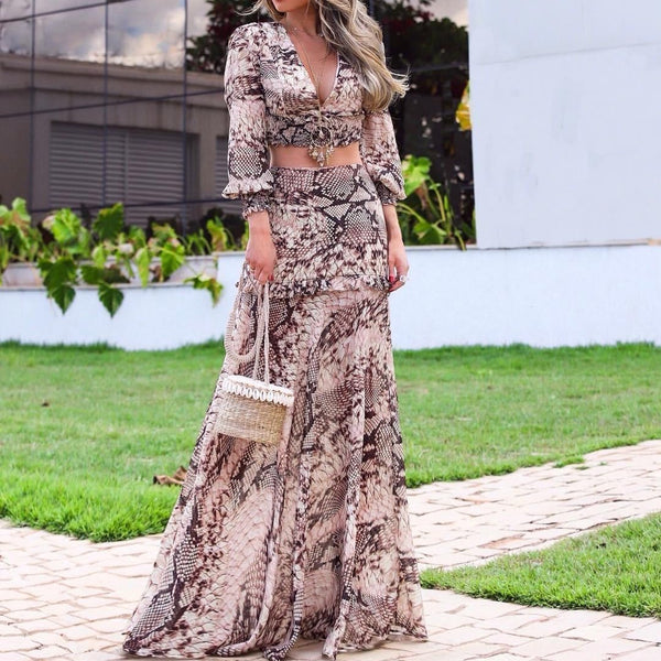 Sexy V Neck Snakeskin Pleated Splicing Suit