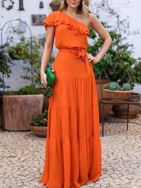 Elegant Sloping Shoulder Ruffled Belted Pure Colour Dress