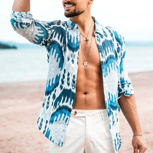 Men's Fashion Beach Print Lapel Long Sleeve Shirt