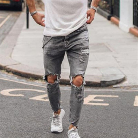 Fashion Knee Hole Slim Fit Jeans