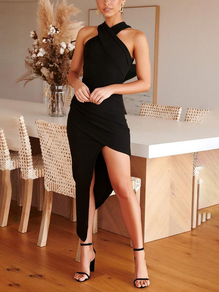 Halter-Style Sexy Shoulderless Slim Split Dress