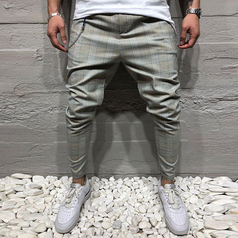 Men's Gray Plaid Casual Trousers Slim Pencil Pants