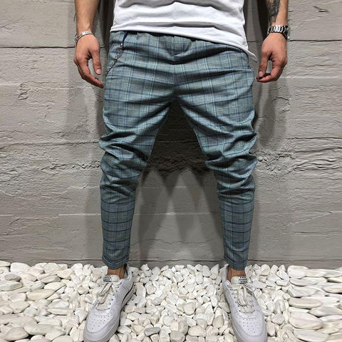 Men's Blue Plaid Casual Trousers Slim Pencil Pants