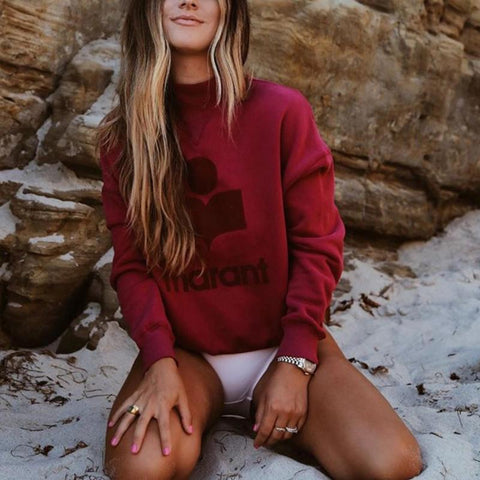 Women Casual Short High Collar Long Sleeve Letters Printed Sweatshirt