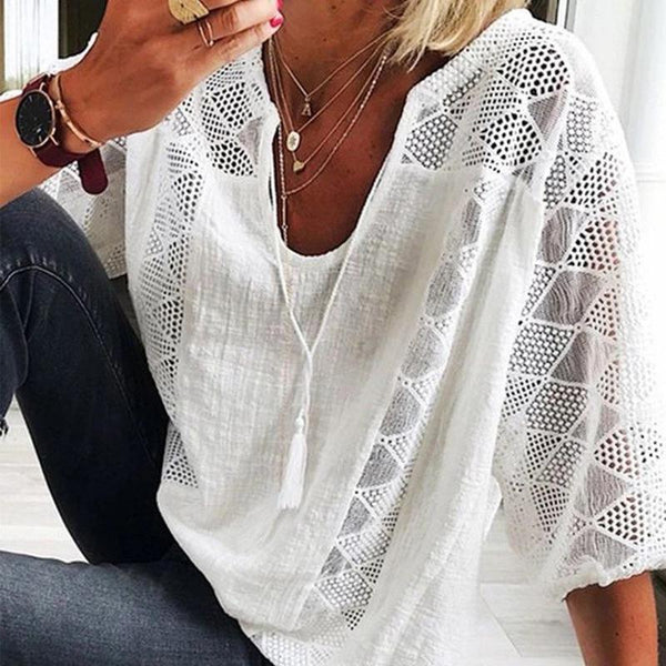 European And American Lace Stitching Solid Color U-Neck Cropped Sleeve T-Shirt