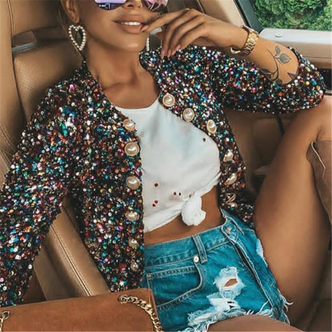 Women's Long Sleeve Sequin Jacket