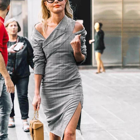 Women Sexy Shoulder Out Long Sleeve Plaid Slit Dress