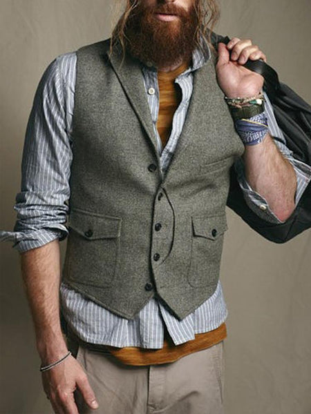 Fashion Solid Color Fold Collar Collar Buckle Vest