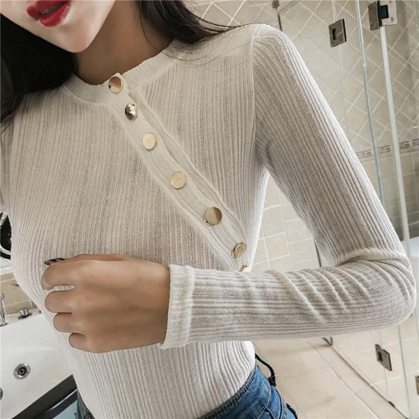 Fashion Pure Colour Long Sleeve Slim T-Shirt