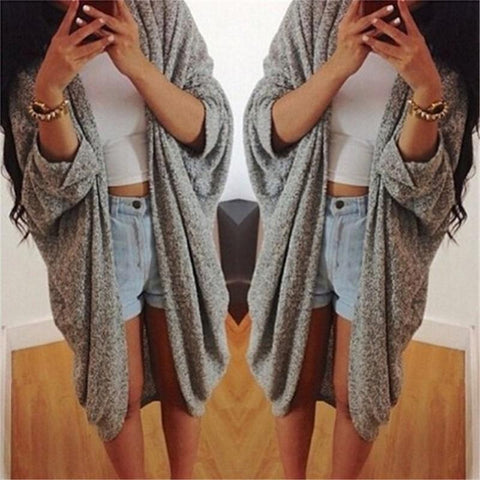 Casual Loose Bat   Sleeve Cardigan Knitted Coat