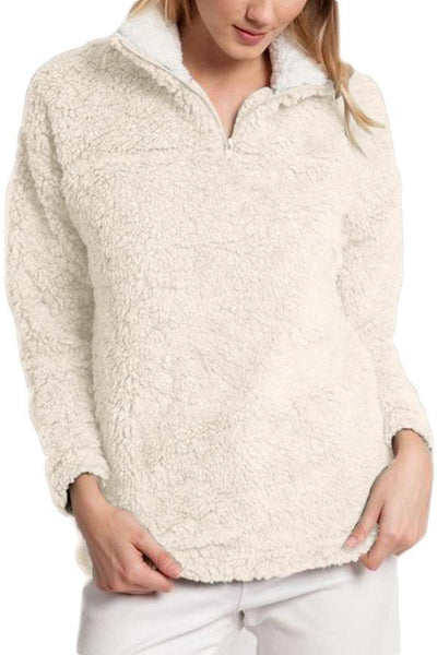 Casual Pure Color Warm Plush Loose Sweater Coat