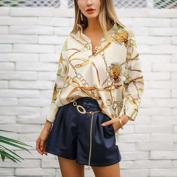 Vintage gold chain printed nine-point sleeve shirt