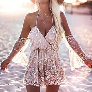 Open Shoulder  Reflective Strip Rompers