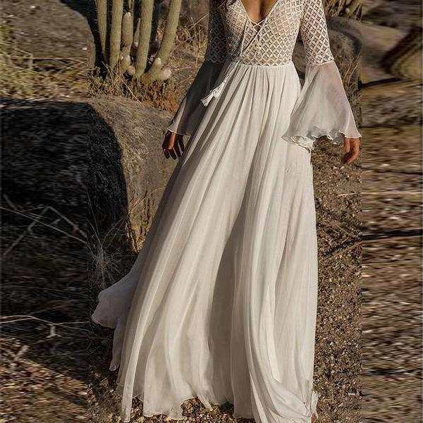 Sexy Hollow Out Lace Beach Maxi Dress