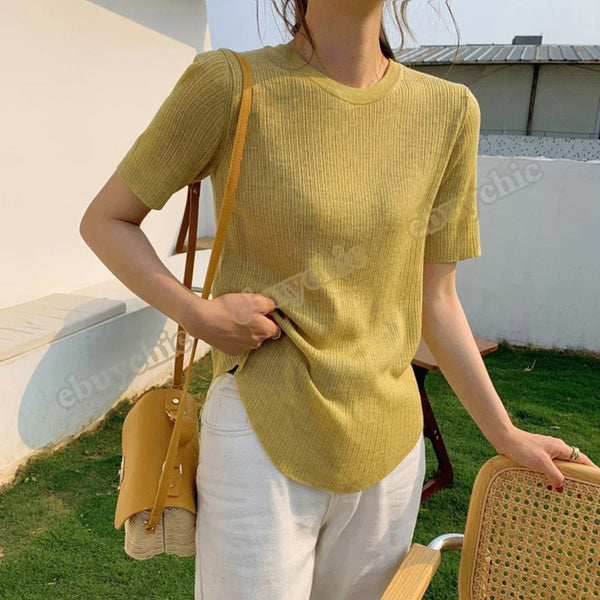 Women Summer O Neck Knitted Solid Color Short Sleeve Casual T Shirt