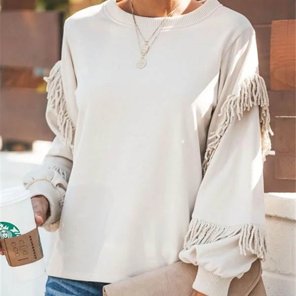 Round Neck  Fringe Plain  Sweatshirts