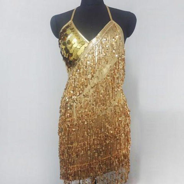 Fashion Halter Neck Collar Solid Color Sequin Mini Evening Dress