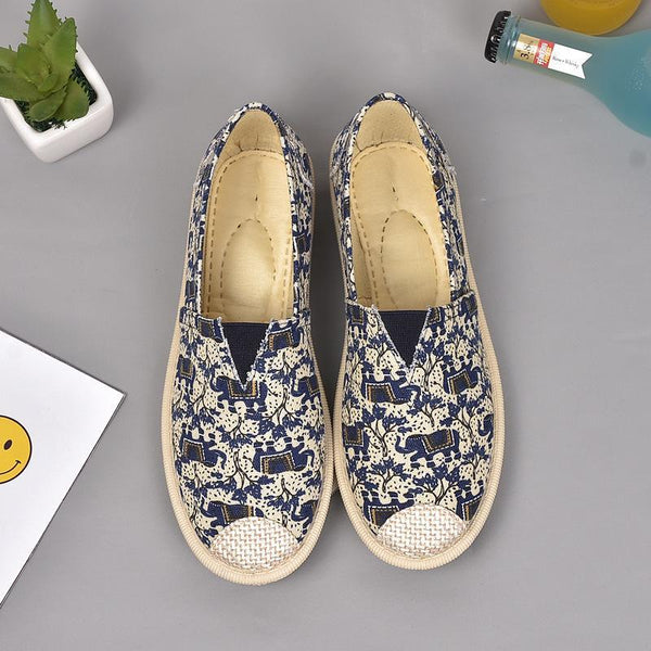 Printed Round Toe Flat Casual Loafers