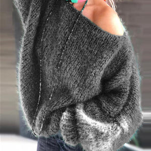 Womens Solid Colour Long Sleeve Sweater