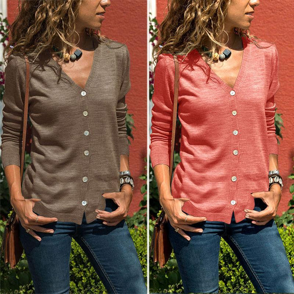 Casual Pure Color  Button Knitted Cardigan Jacket