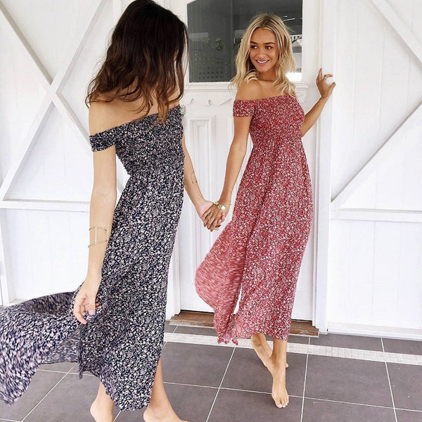 Women Floral Print Off Shoulder High Split Beach Maxi Dress