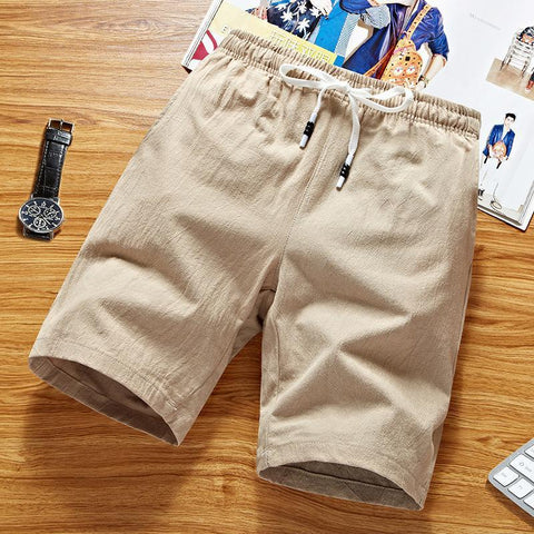 Summer Men's Mid-Waist Rope Cotton Straight Large Size Casual Joker Shorts