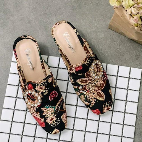 Fashion Rhinestone Embroidered Thick Heel Sandals
