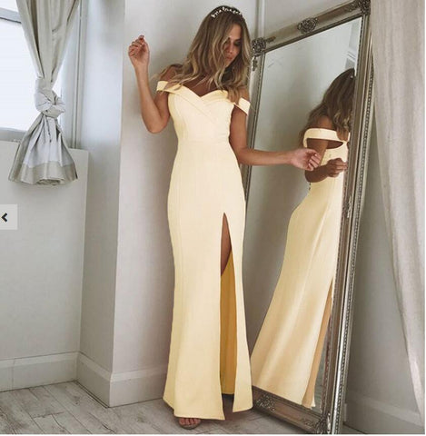 Elegant Off Shoulder Slit Evening Dresses
