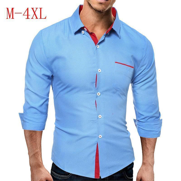 Men's Contrast Polka Dot Long Sleeve Slim Shirt