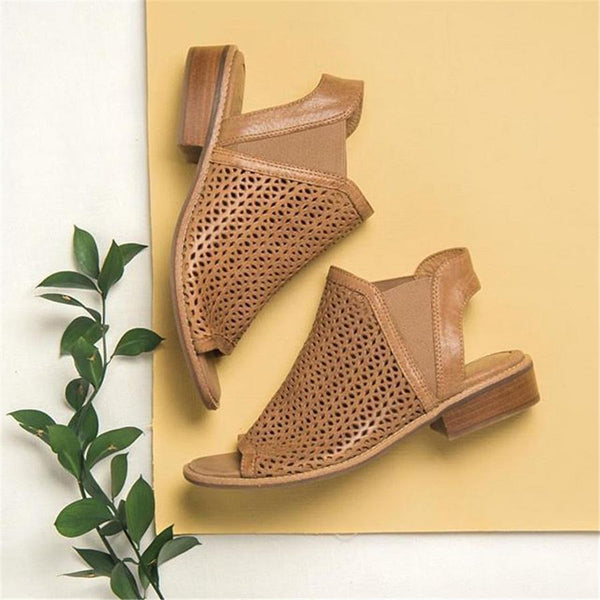 Fashion Retro Hollow Fish Mouth Sandals