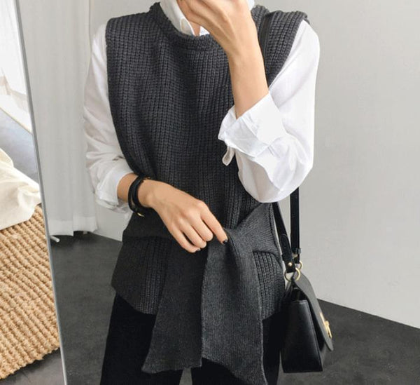 Casual Simple   Waistband Shown Thin Knitted Waistcoat Sweater