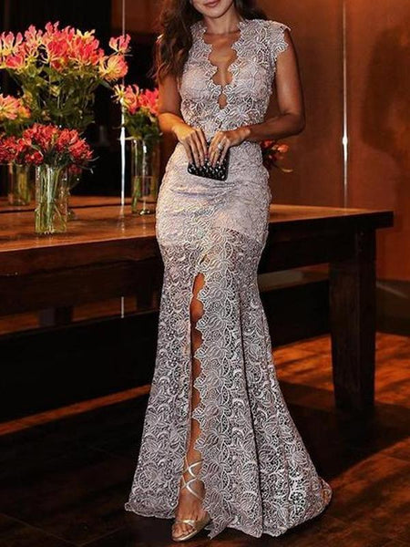 Deep V Lace Sleeveless Split Thigh Evening Dress